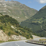 The start of the Grimsel Pass Lamborghini
